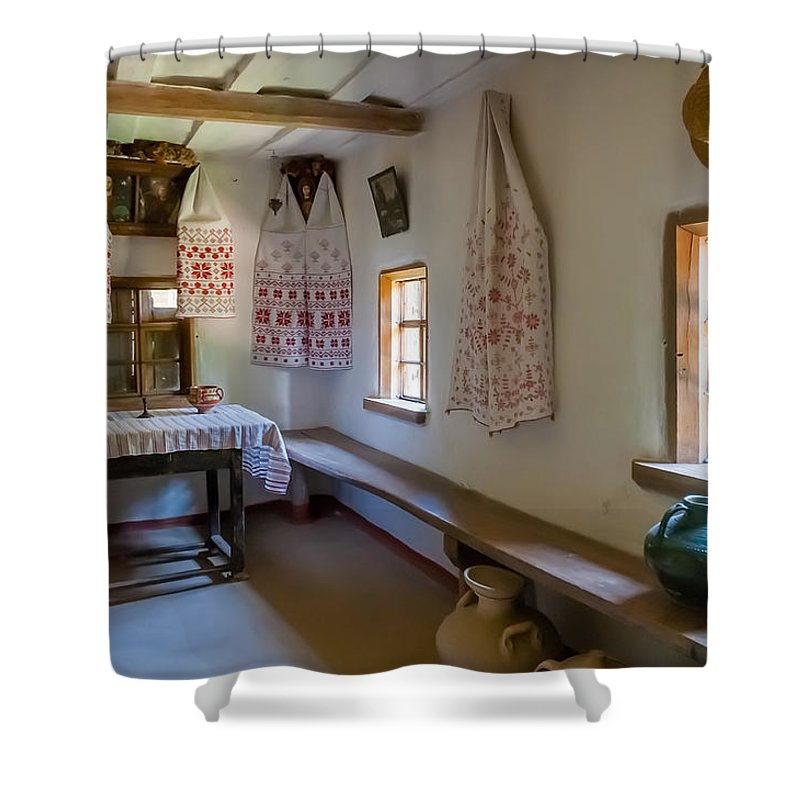 Kiev Shower Curtain featuring the photograph Interior Detail Of Typical Ukrainian Antique House by Alain De Maximy