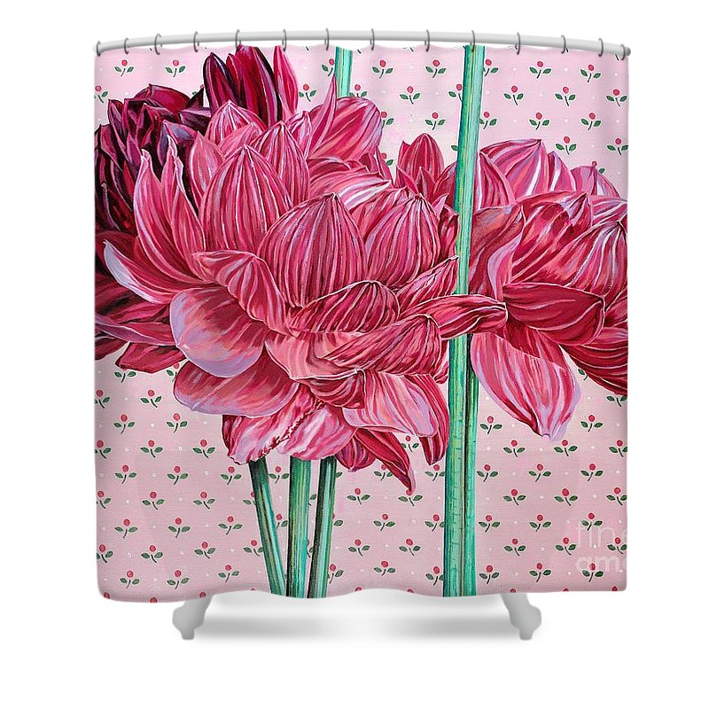 Large Sized Close Up Look At Pink Dalias. Pink Flowers Shower Curtain featuring the painting JAN by John Wilson