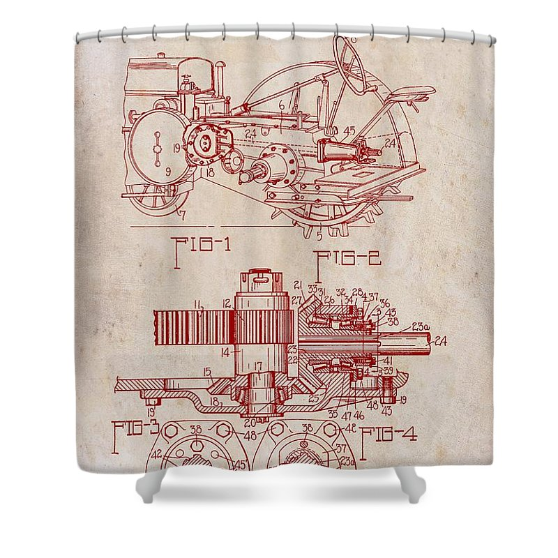 Patent Shower Curtain featuring the drawing John Deere Tractor Patent 1933 by Mountain Dreams