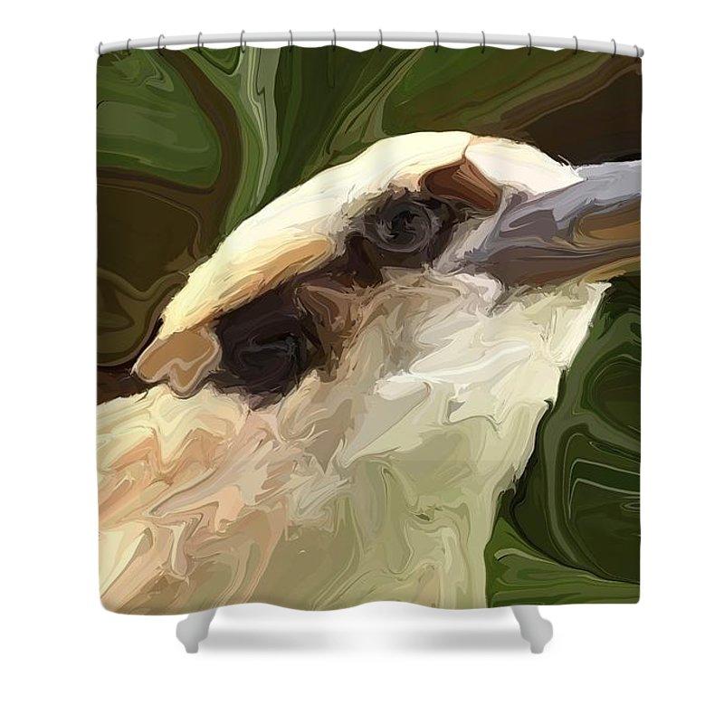 Kookaburra Shower Curtain featuring the digital art Kookaburra by Chris Butler