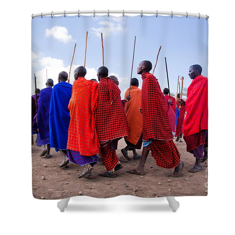 Village Shower Curtain featuring the photograph Maasai Men In Their Ritual Dance In Their Village In Tanzania by Michal Bednarek