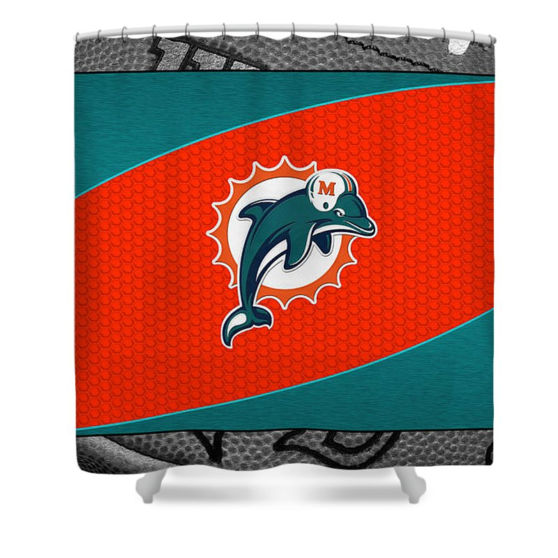 Dolphins Shower Curtain featuring the photograph Miami Dolphins by Joe Hamilton
