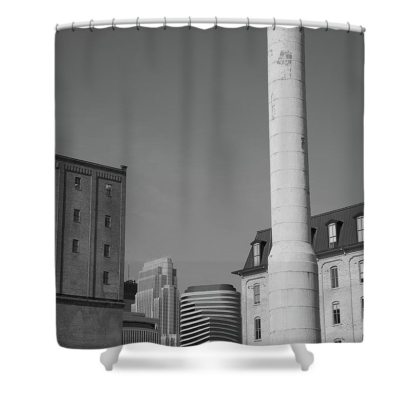 America Shower Curtain featuring the photograph Minneapolis Smokestack by Frank Romeo