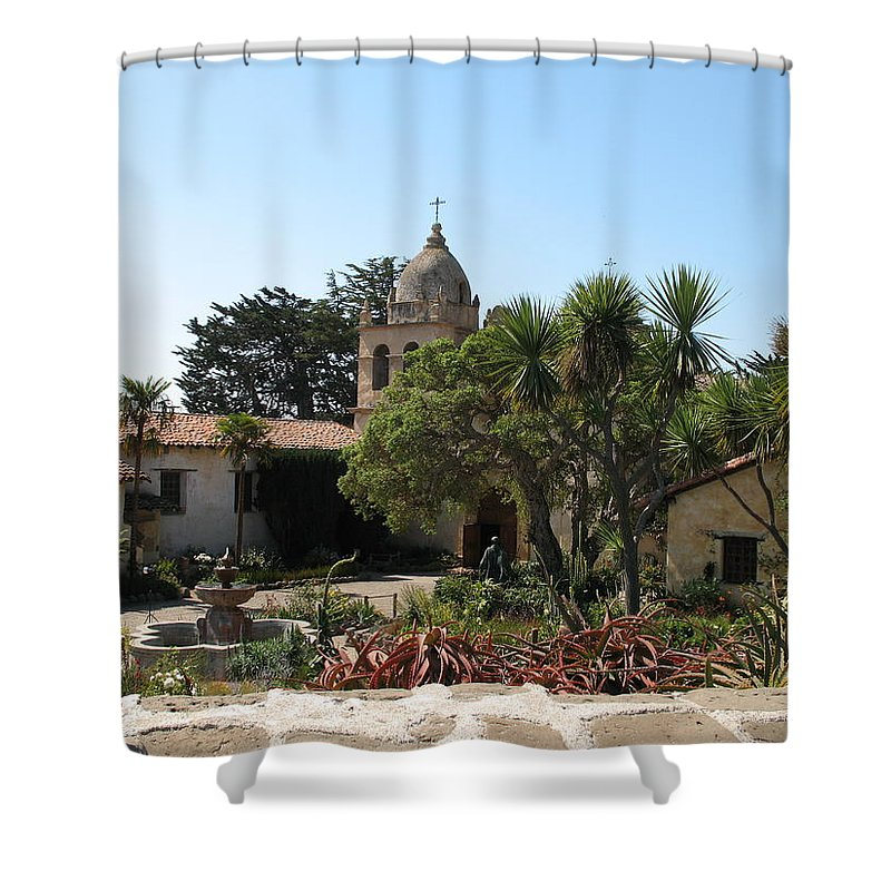 Mission Shower Curtain featuring the photograph Mission San Carlos Borromeo Del Rio Carmelo by Christiane Schulze Art And Photography