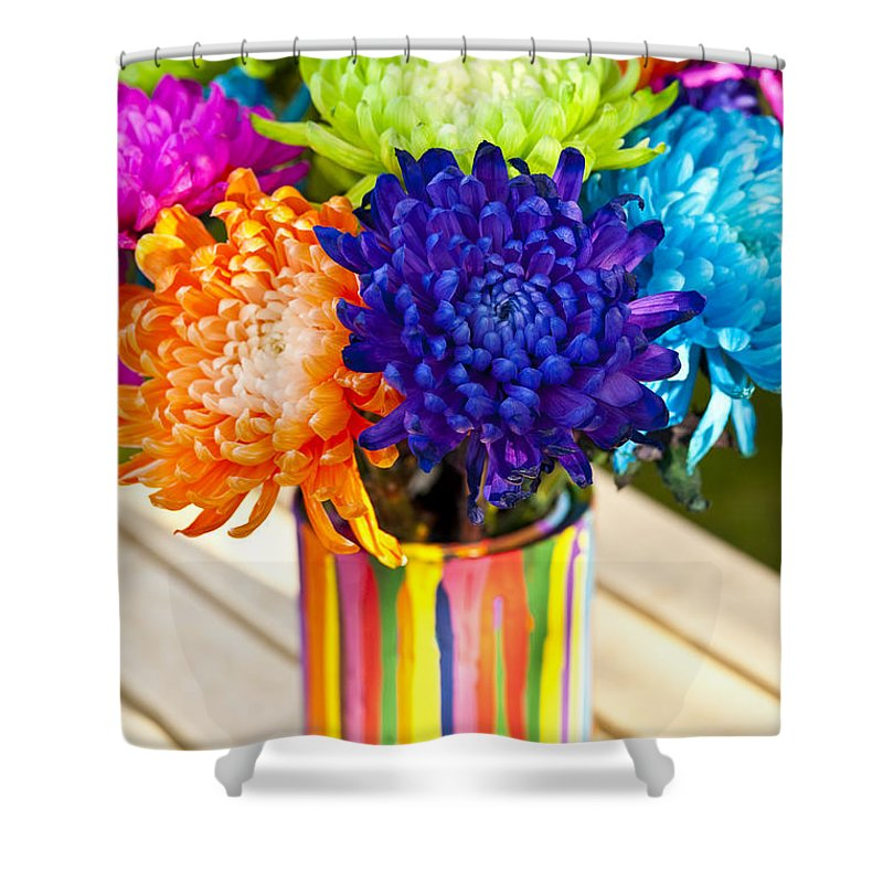 Art Shower Curtain featuring the photograph Multicolored Chrysanthemums by Jim Corwin