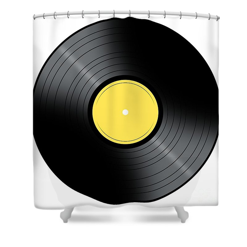 Album Shower Curtain featuring the digital art Music Record by Henrik Lehnerer