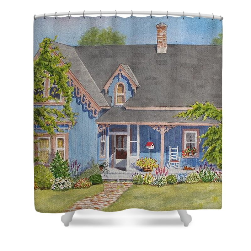 Canada Shower Curtain featuring the painting My Blue Heaven by Mary Ellen Mueller Legault