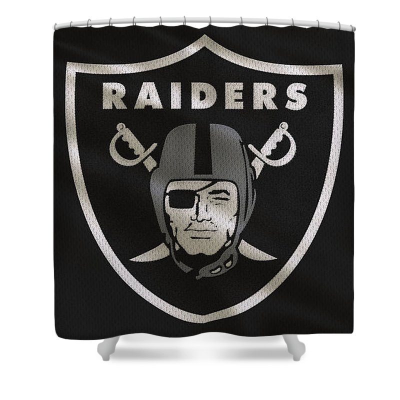 Raiders Shower Curtain Featuring The Photograph Oakland Uniform By Joe Hamilton