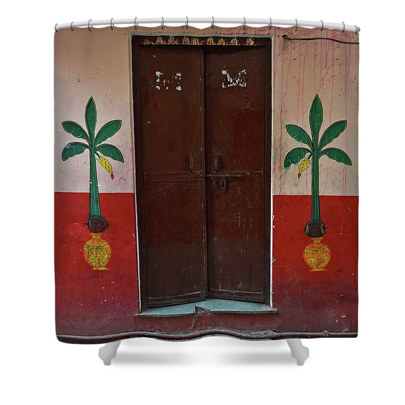 Description Shower Curtain featuring the photograph Old Doors India, Varanasi by Stereostok