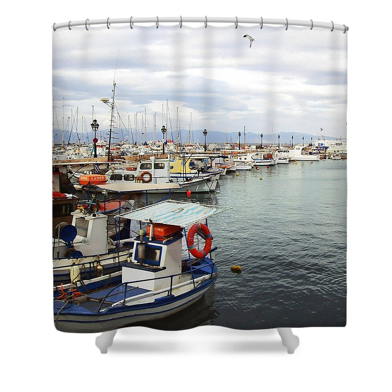 Port Of Aegina Shower Curtain featuring the photograph Port of Aegina by Ellen Henneke