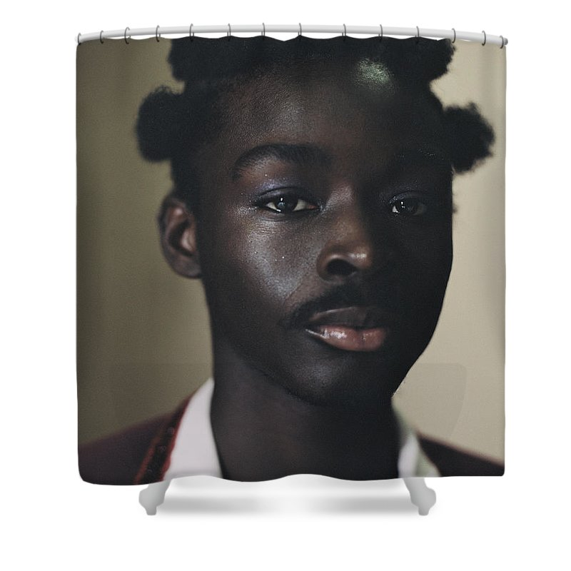 Handsome People Shower Curtain featuring the photograph Portrait Of Young Person Holding by Campbell Addy