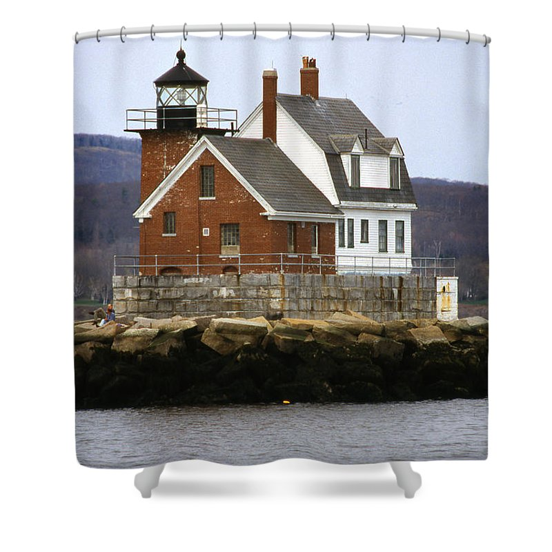 Maritime Shower Curtain featuring the photograph Rockland Breakwater Lighthouse by Skip Willits