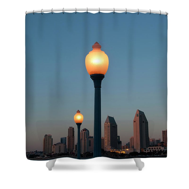 Tranquility Shower Curtain featuring the photograph San Diego Skyline by Mitch Diamond