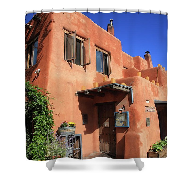 Adobe Shower Curtain featuring the photograph Santa Fe - Adobe Building by Frank Romeo