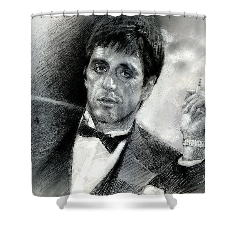 Scarface Shower Curtain Featuring The Drawing By Viola El