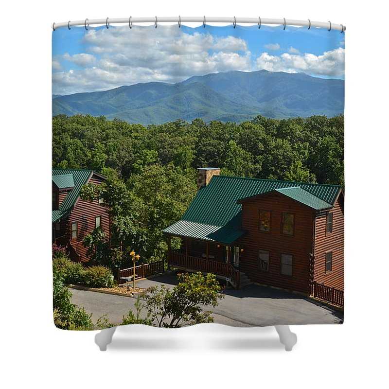 Smoky Shower Curtain featuring the photograph Smoky Mountain Cabins by Frozen in Time Fine Art Photography