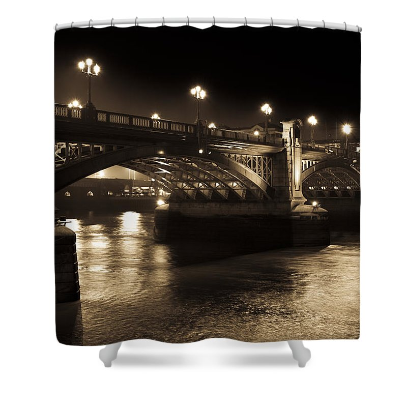 Sepia Shower Curtain featuring the photograph Southwark Bridge London by David Pyatt