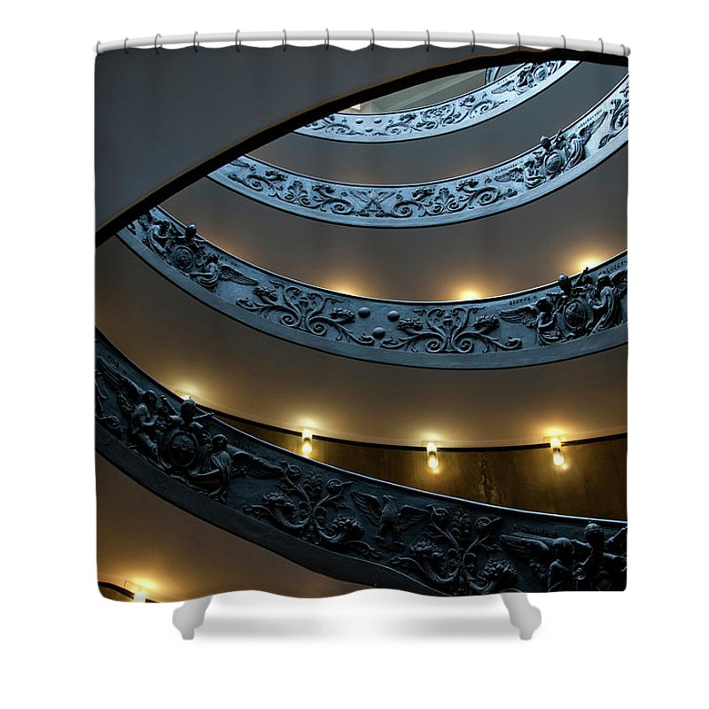 Italian Culture Shower Curtain featuring the photograph Spiral Staircase At The Vatican by Mitch Diamond