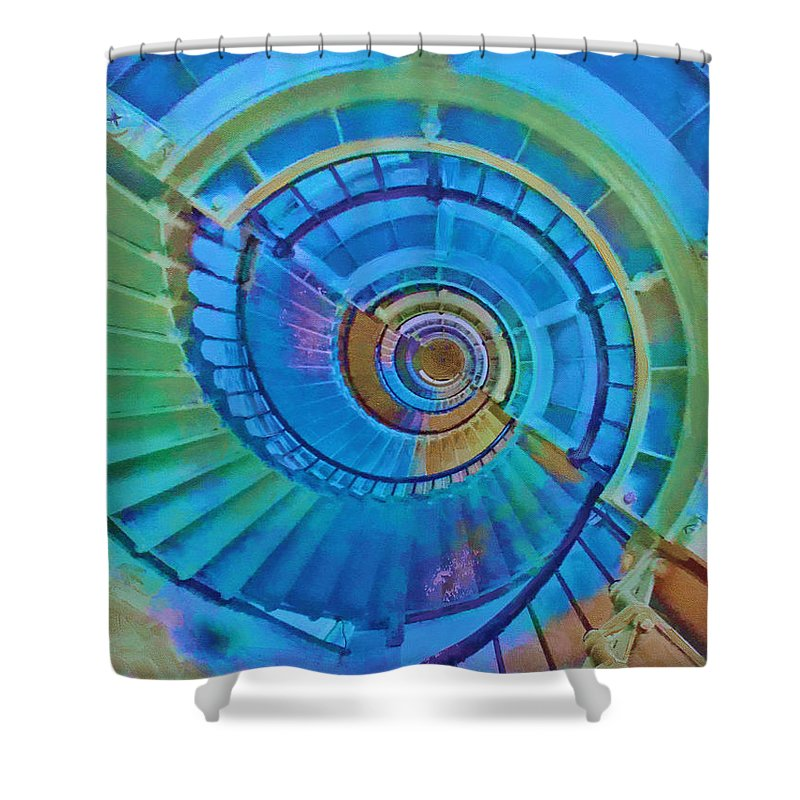 Stairs Shower Curtain featuring the painting Stairway To Lighthouse Heaven by Deborah Boyd
