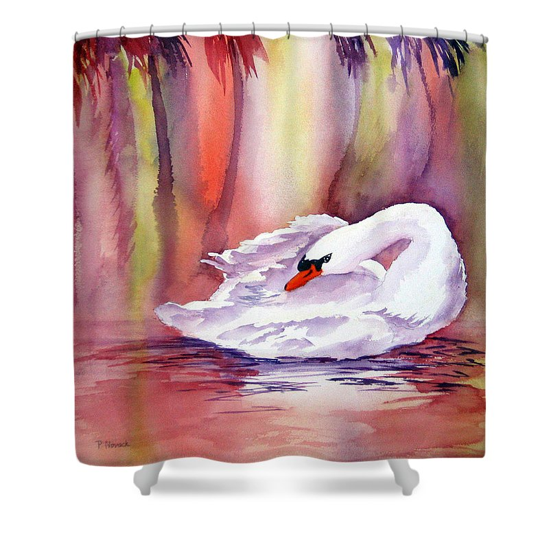 Swan Shower Curtain featuring the painting Swan by Patricia Novack