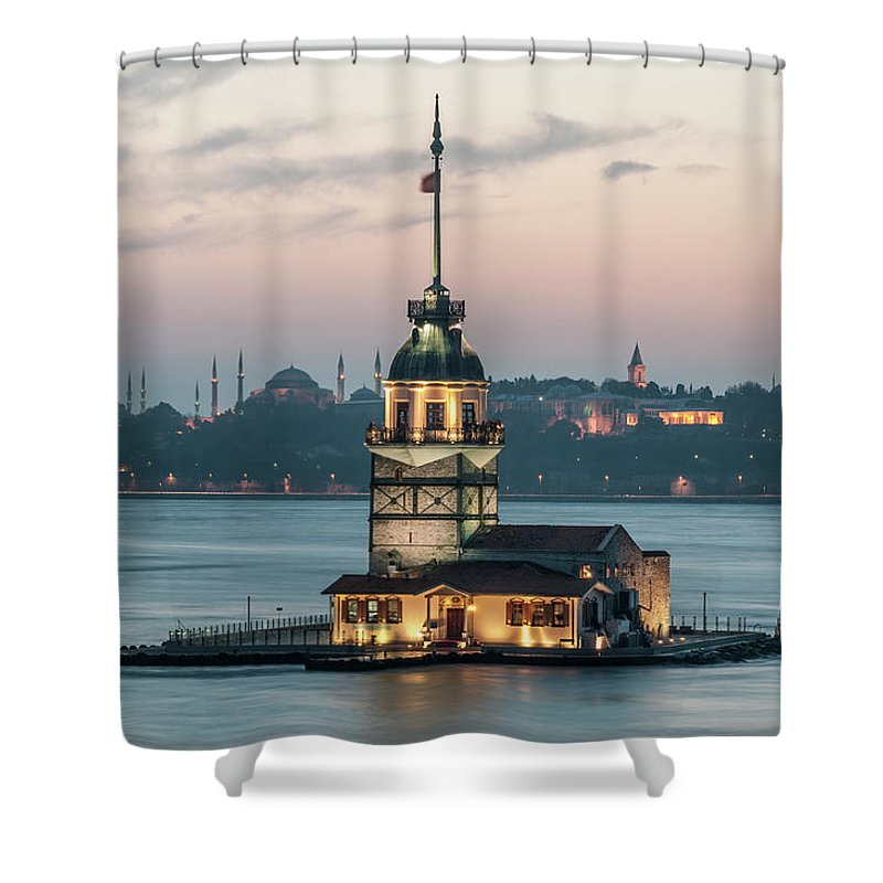 The Maiden's Tower Shower Curtain featuring the photograph The Maiden's Tower by Ayhan Altun