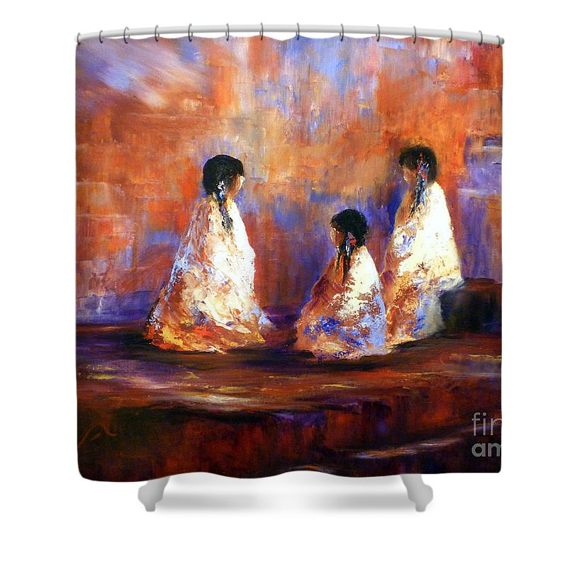 Southwest Art Shower Curtain featuring the painting The Story Teller by Sharon Abbott Furze
