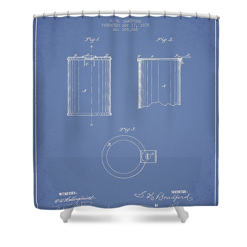 Beer Can Shower Curtain featuring the digital art Tin Can Patent Drawing From 1878 by Aged Pixel