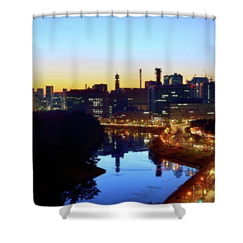 Tokyo Tower Shower Curtain featuring the photograph Tokyo Panorama At Sunrise by Vladimir Zakharov