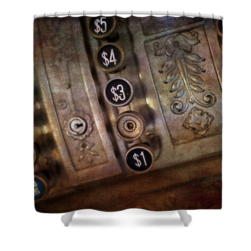 Age Shower Curtain featuring the photograph Vintage Metal Cash Register by Gunter Nezhoda