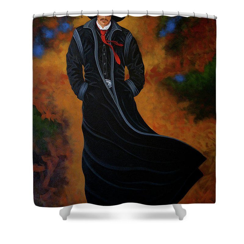 New West Shower Curtain featuring the painting West Bound by Lance Headlee