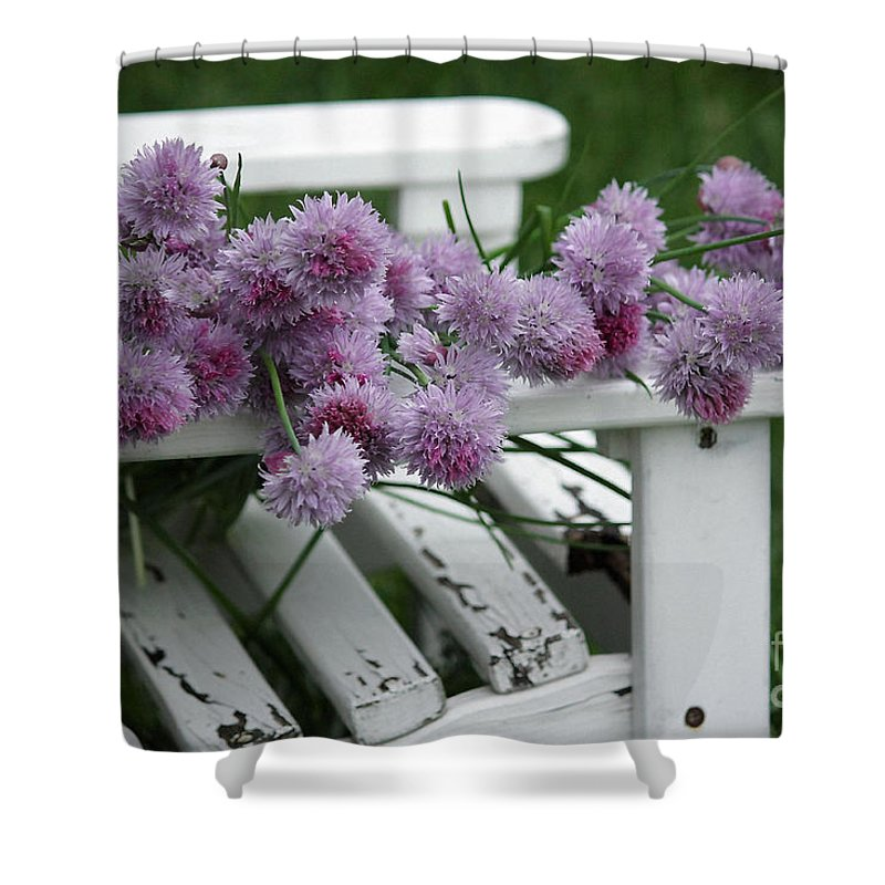 Wild Onion Flowers Shower Curtain featuring the photograph Wild Onion Flowers by Luv Photography