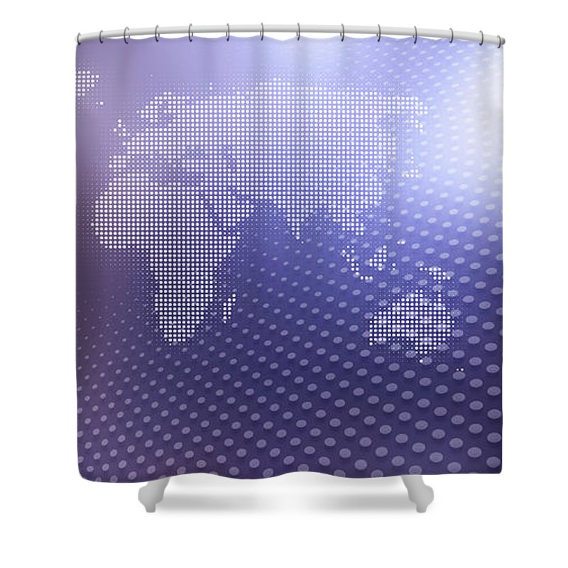 Shadow Shower Curtain featuring the digital art World Map In Dots Against An Abstract by Ralf Hiemisch