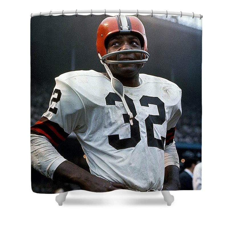 Nfl Prints Shower Curtain featuring the photograph #32 Jim Brown by R A W M