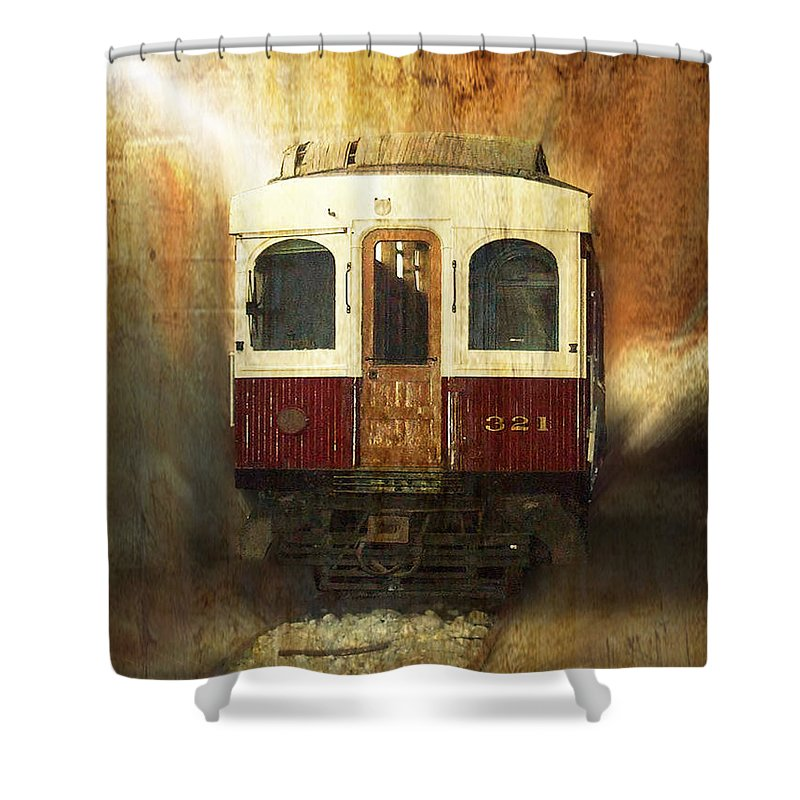 Train Engine Shower Curtain featuring the mixed media 321 Antique Passenger Train Car Textured by Thomas Woolworth