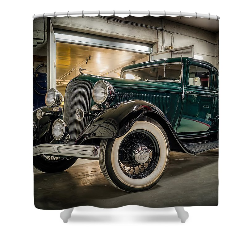 Vintage Shower Curtain featuring the digital art '33 Plymouth by Douglas Pittman