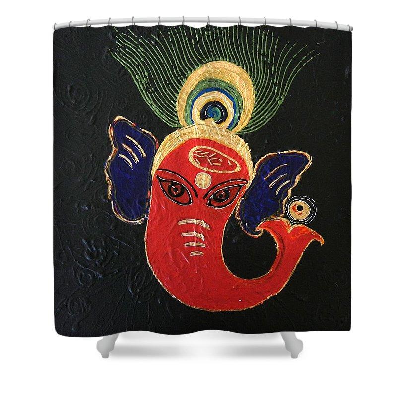 Ganesha Shower Curtain featuring the painting 34 Ganadhakshya Ganesha by Kruti Shah