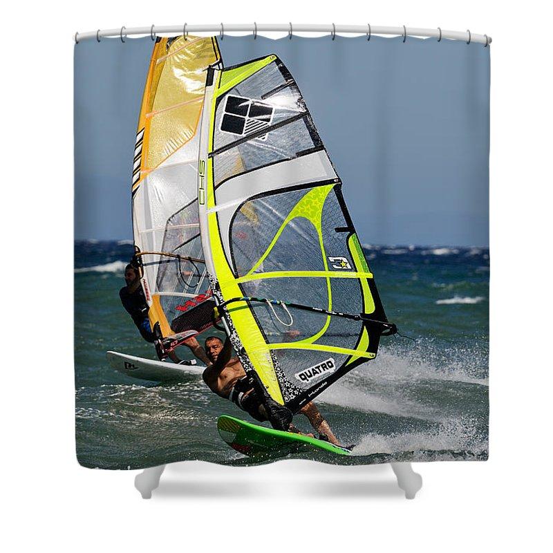 Windsurfing Shower Curtain featuring the photograph Windsurfing by George Atsametakis