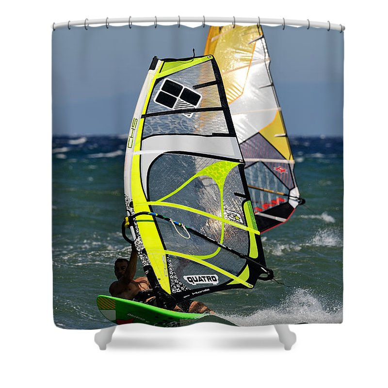 Windsurfing Shower Curtain featuring the photograph Windsurfing by George Atsametakis