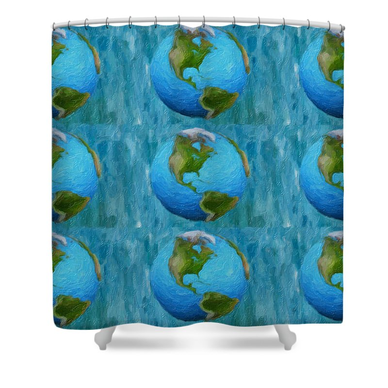 Earth Shower Curtain featuring the painting 3d Render Of Planet Earth 1 by Jeelan Clark
