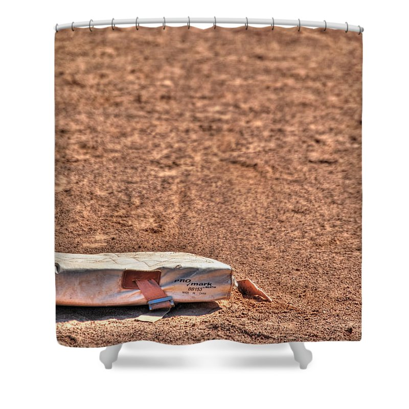 Baseball Shower Curtain featuring the photograph 3rd Base by Michael Frank Jr