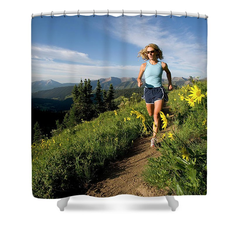 25-30 Years Shower Curtain featuring the photograph A Couple Trail Running by J.C. Leacock