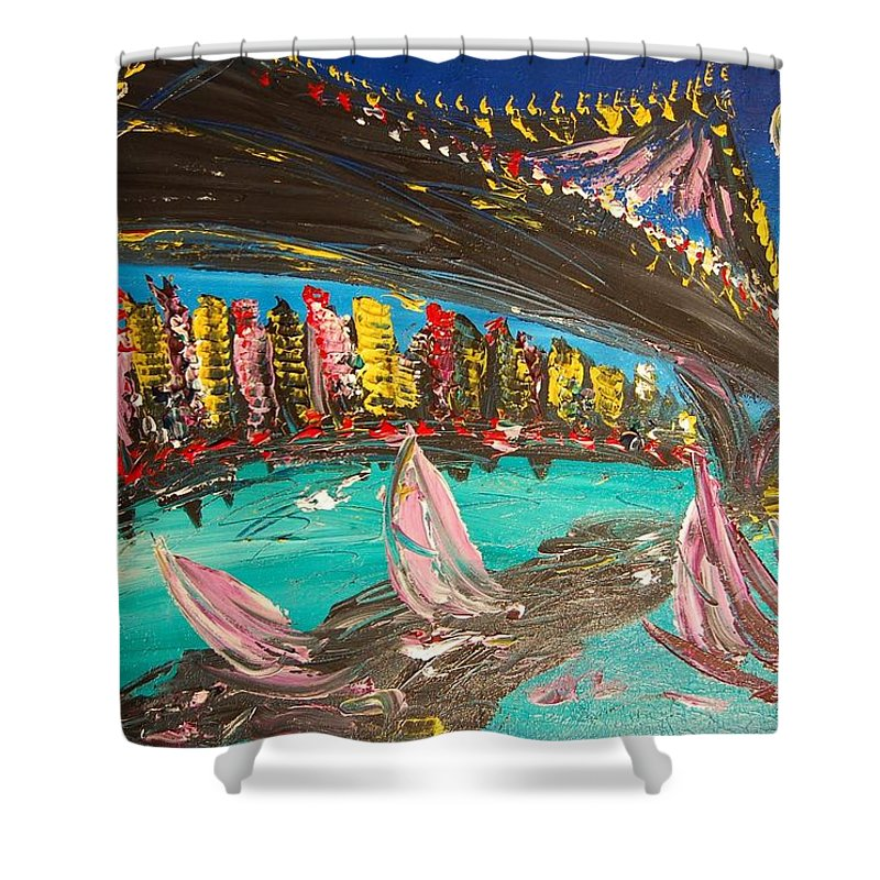 Shower Curtain featuring the painting Brooklyn by Mark Kazav