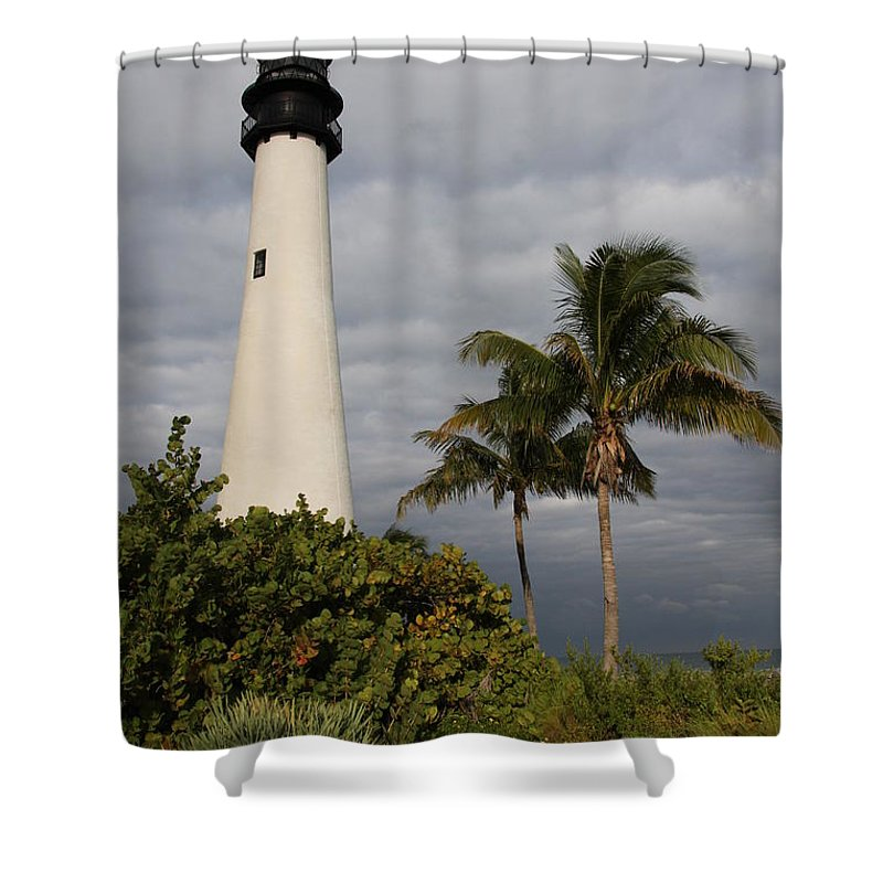 Lighthouse Shower Curtain featuring the photograph Cape Florida Lighthouse by Christiane Schulze Art And Photography