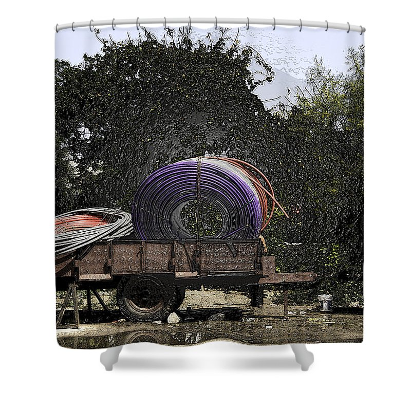 Canon Shower Curtain featuring the digital art Coils Of Thick Plastic Pipe On A Carrier Wagon by Ashish Agarwal