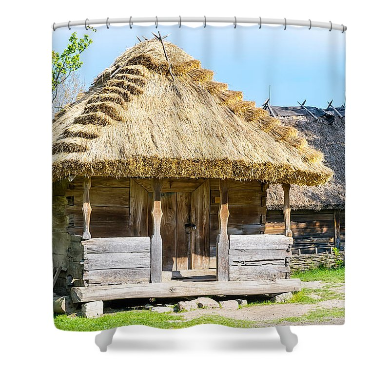 Kiev Shower Curtain featuring the photograph Detail Of A Typical Ukrainian Antique House by Alain De Maximy