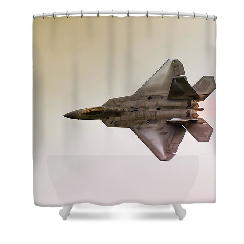 Airplane Shower Curtain featuring the photograph F-22 Raptor 4 by Sebastian Musial