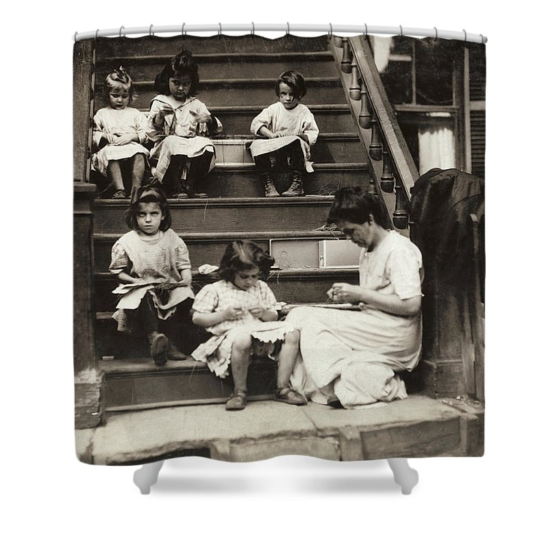 1912 Shower Curtain featuring the photograph Hine Home Industry, 1912 by Granger