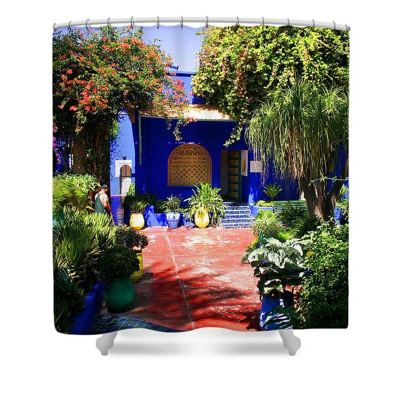 Majorelle Garden Shower Curtain featuring the photograph Majorelle Garden Marrakesh Morocco by Ralph A Ledergerber-Photography
