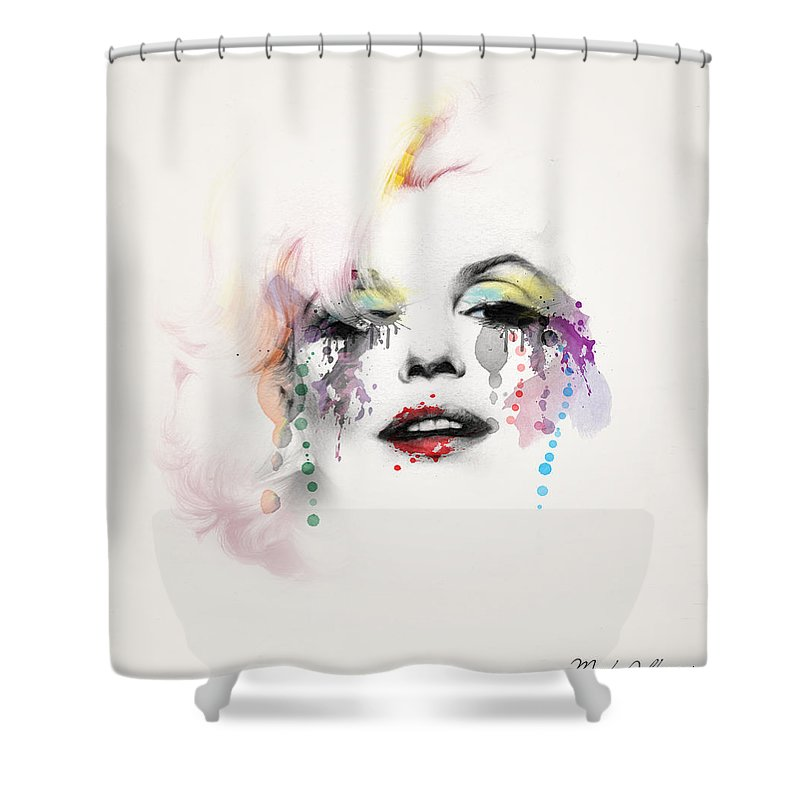 Pop Art Shower Curtain featuring the painting Marilyn Monroe by Mark Ashkenazi