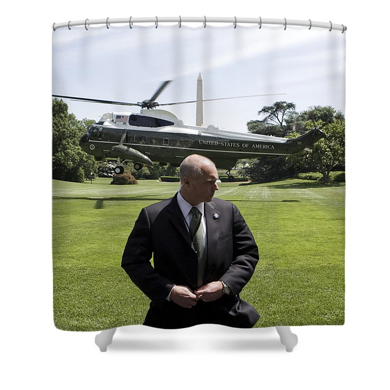 America Shower Curtain featuring the photograph Marine One by JP Tripp
